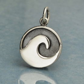 Sterling Silver Wave Charm with Oxidized Background 18x12mm