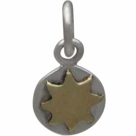 Sterling Silver Sun Charm with Bronze Sun 13x6mm