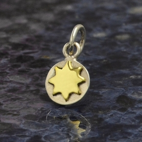 Sterling Silver Sun Charm with Bronze Sun