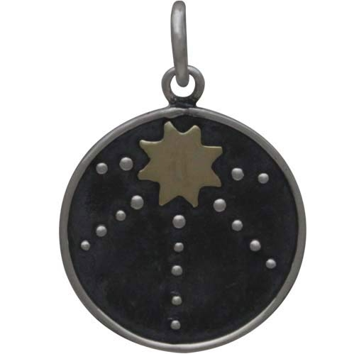 Sterling Silver Talisman Charm with Bronze Sun