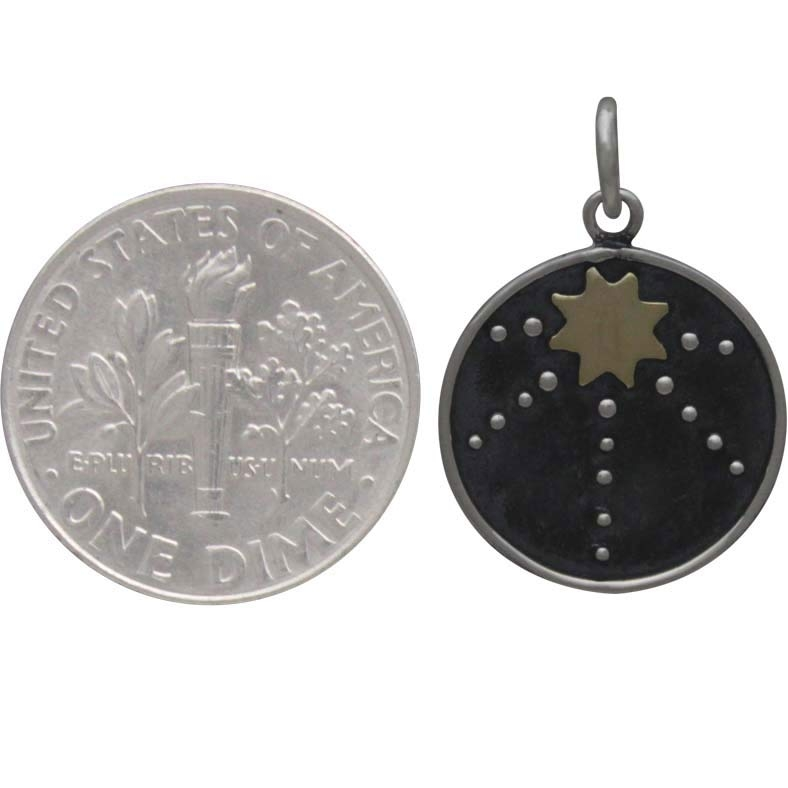 Sterling Silver Talisman Charm with Bronze Sun 21x15mm