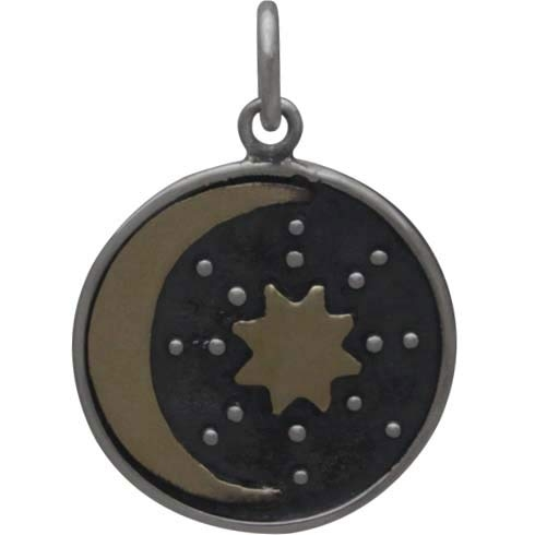 Silver Talisman Charm with Bronze Sun and Moon 21x15mm