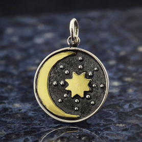 Sterling Silver Talisman Charm with Bronze Sun & Moon