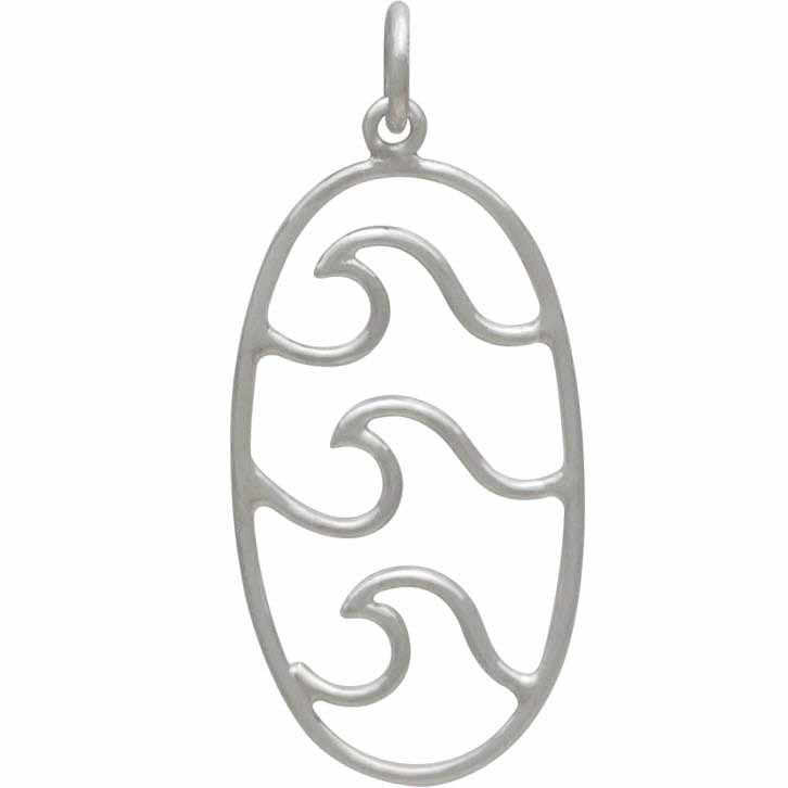 Sterling Silver Wave Pendant - Oval Pendant with 3 Waves