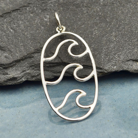 Sterling Silver Wave Pendant - Oval Shape 31x14mm