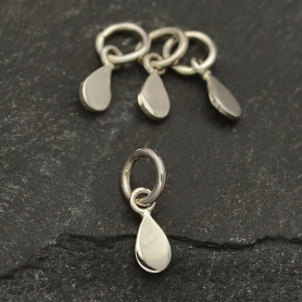 Sterling Silver Flat Tiny Teardrop Charm 12x3mm
