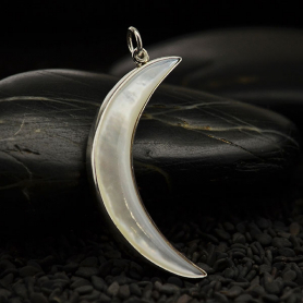 Mother of Pearl Moon Pendant with Silver Bezel 40x17mm