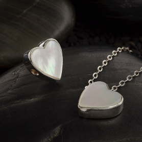 Mother of Pearl Heart Bead with Silver Bezel 10x10mm