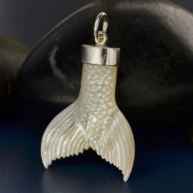 Mother of Pearl Mermaid Tail Pendant with Silver Bail