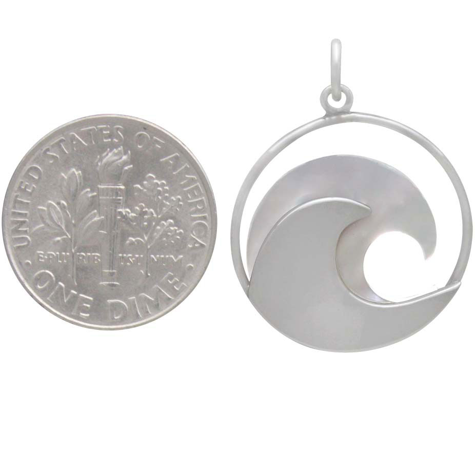 Sterling Silver Wave Pendant with Mother of Pearl 27x20mm