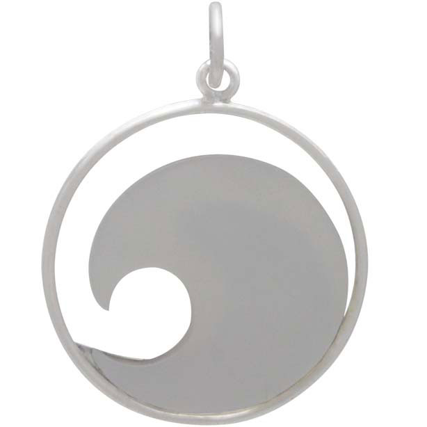 Sterling Silver Wave Pendant with Mother of Pearl
