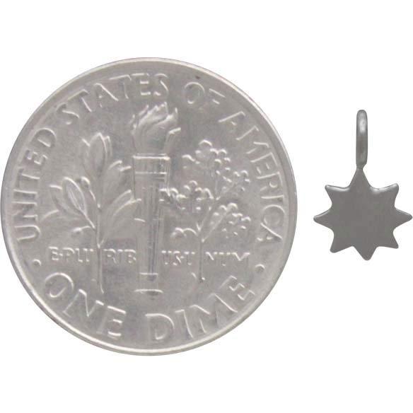 Sterling Silver Tiny Sun Charm 9x5mm