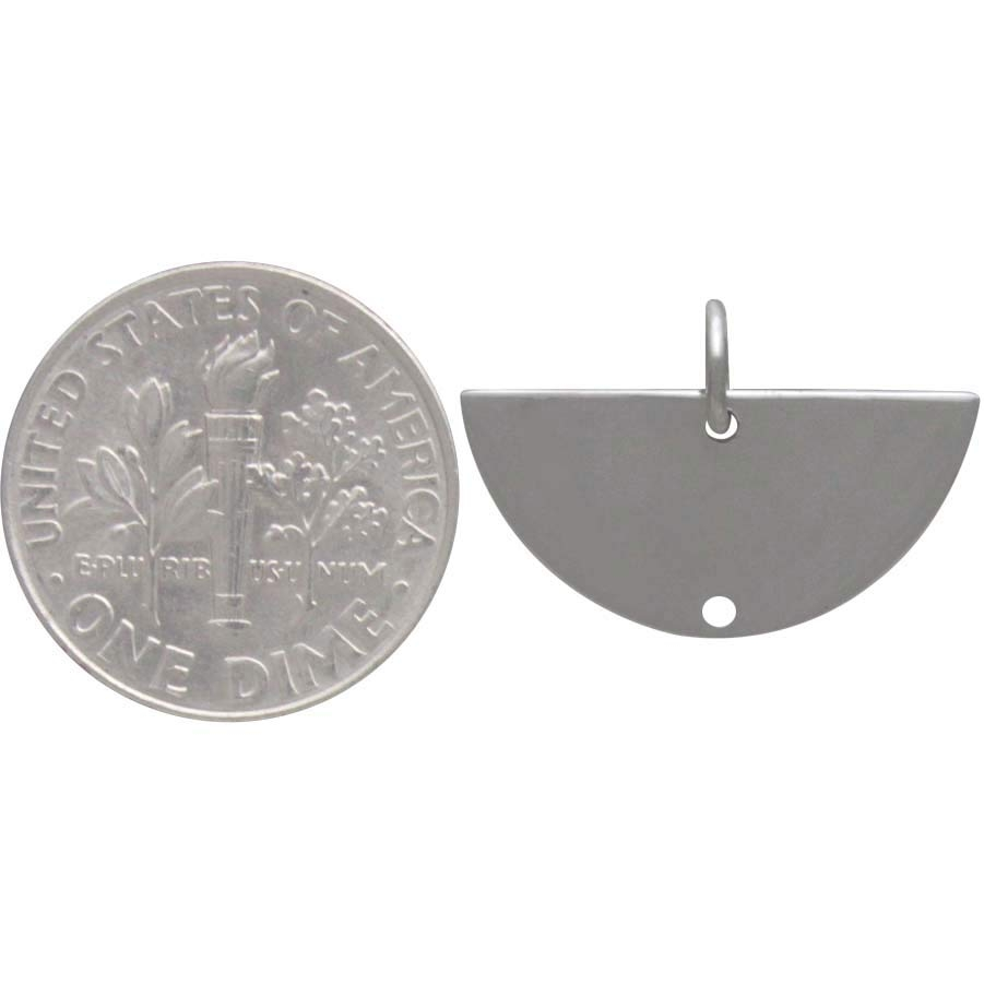 Sterling Silver Half Moon Link with Bottom Hole 14x20mm
