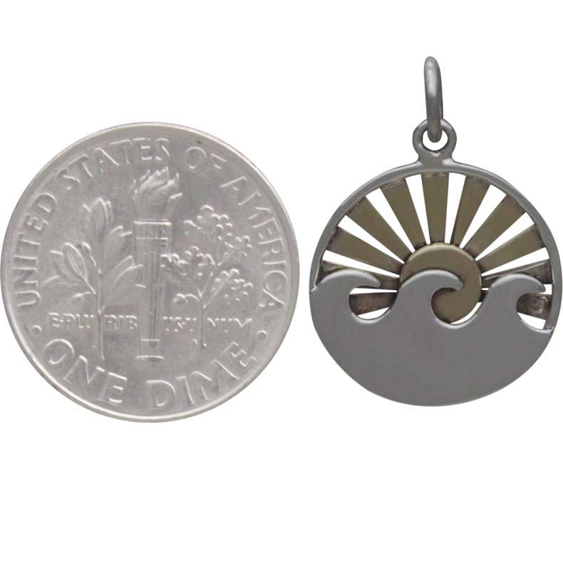 Sterling Silver Wave Charm with Bronze Setting Sun 21x15mm