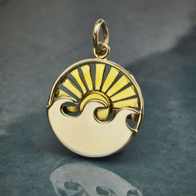 Sterling Silver Wave Charm with Bronze Setting Sun -21mm