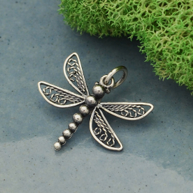Sterling Silver Dragonfly Charm with Filigree Wings