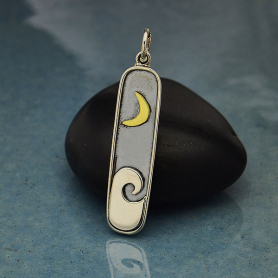 Sterling Silver Wave Pendant with Bronze Moon 34x7mm