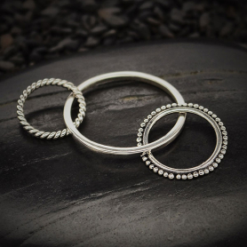 Sterling Silver Three Circles Link with Texture -37mm