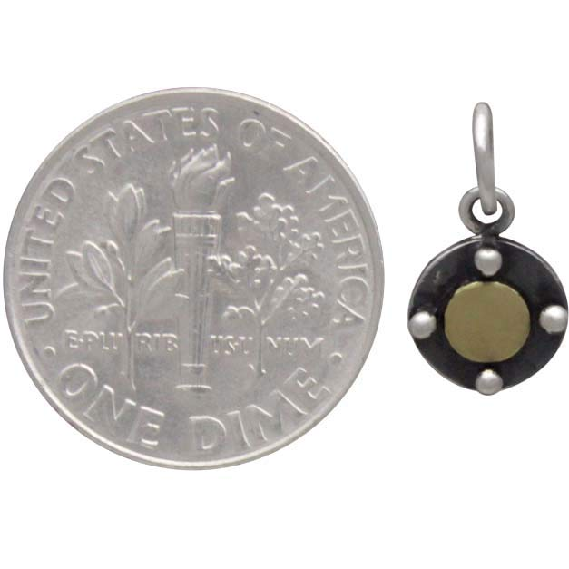 Sterling Silver Circle Charm with Bronze Dot 13x7mm
