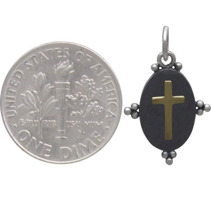 Oxidized Silver Oval Charm with Bronze Cross 20x12mm