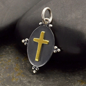 Oxidized Silver Oval Charm with Bronze Cross 20x12mm
