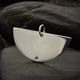 Sterling Silver Half Moon Link with Bottom Hole 16x26mm