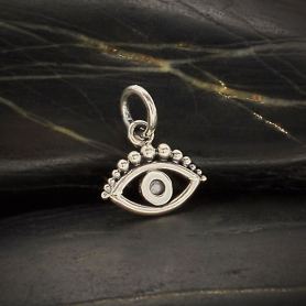 Sterling Silver Evil Eye Charm with Granulation