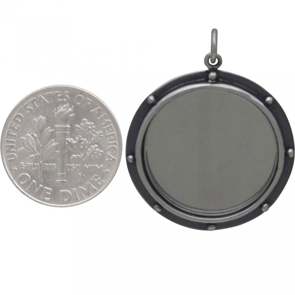 Sterling Silver Mirror Pendant with Granulation 30x24mm