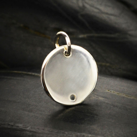 Sterling Silver Circle Disk Link 15x12mm