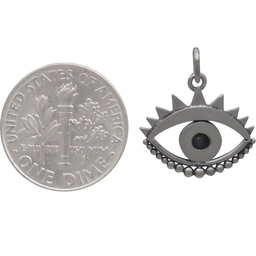Sterling Silver Evil Eye Pendant 19x16mm