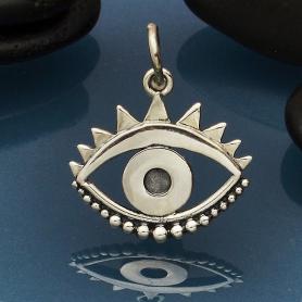 Sterling Silver Evil Eye Pendant -19mm