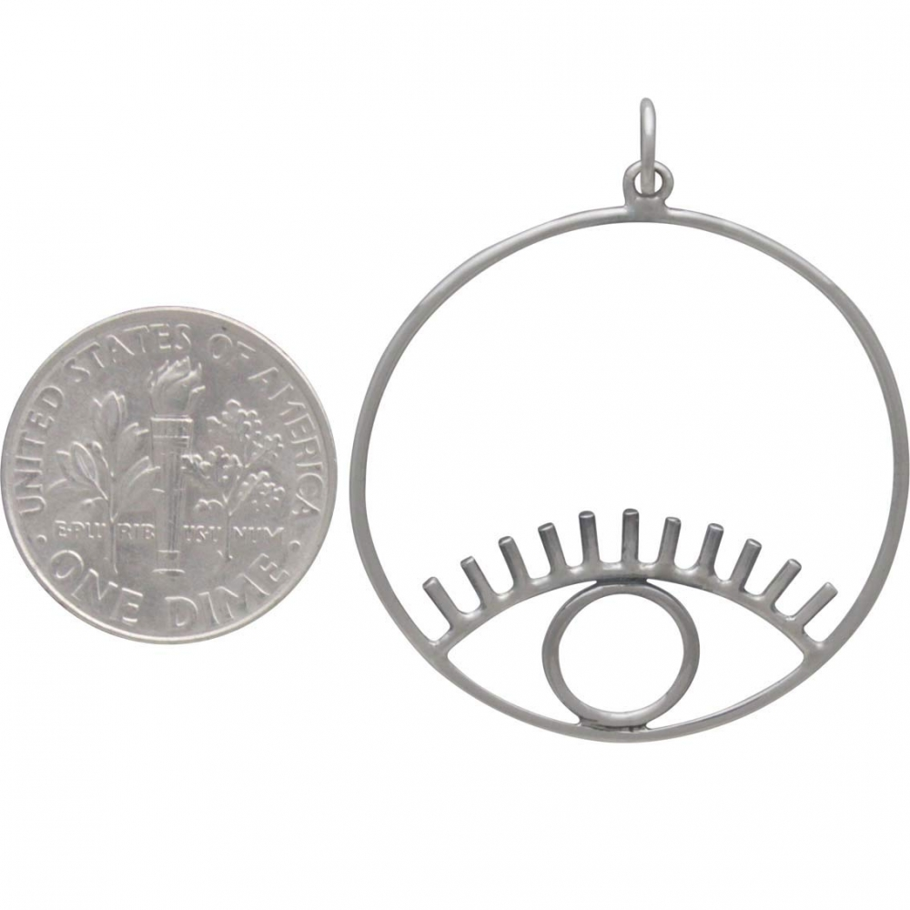 Sterling Silver Hoop Pendant with Eye 37x30mm