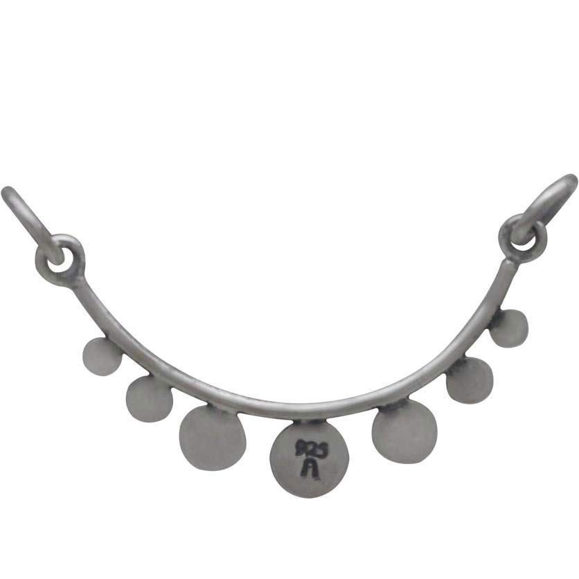 Sterling Silver Curved Bar Festoon with Flat Circles