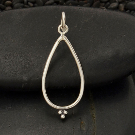 Silver Teardrop Charm with Granulation Detail 26x10mm