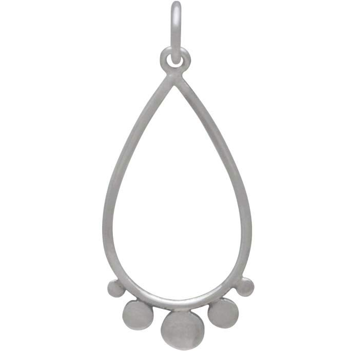 Sterling Silver Teardrop Charm with Flat Circles