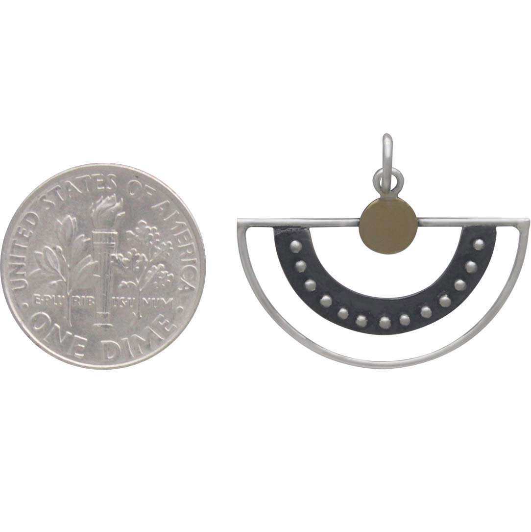 Sterling Silver Fan Charm with Granulaton and Bronze Dot