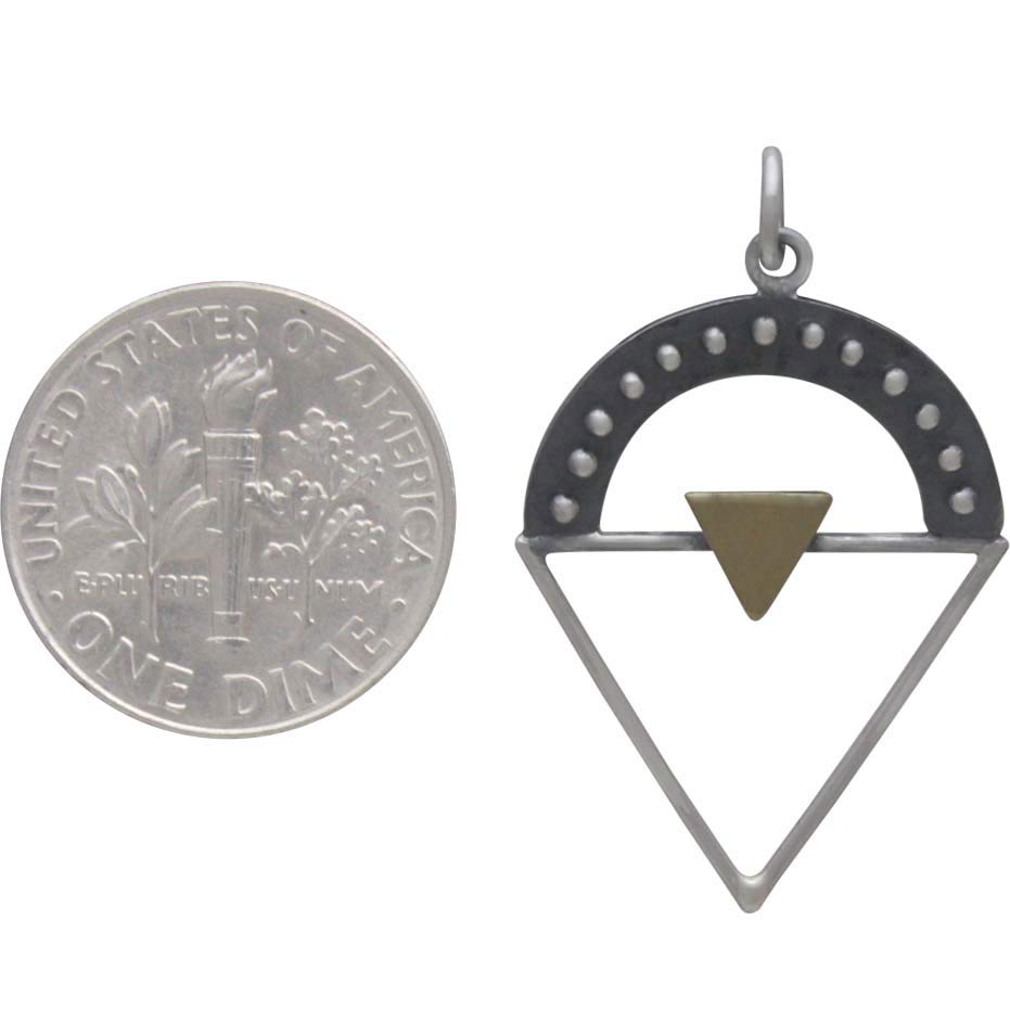 Silver Triangle Charm with Granulation and Bronze 32x19mm