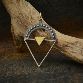 Sterling Silver Triangle Charm with Granulation and Bronze