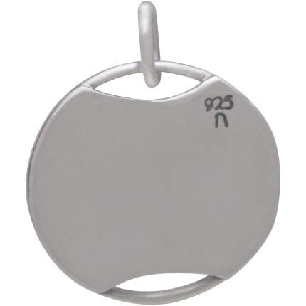 Sterling Silver Circle Charm with Decorative Granulation