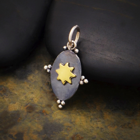 Sterling Silver Oxidized Oval Charm with Bronze Sun 21x12mm