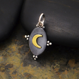 Sterling Silver Oxidized Oval Charm with Bronze Moon 21x12mm