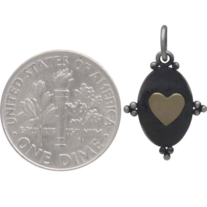 Silver Oxidized Oval Charm with Bronze Heart 21x12mm