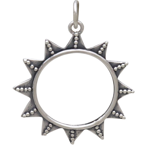 Sterling Silver Sun Charm with Tiny Granulation 28x22mm