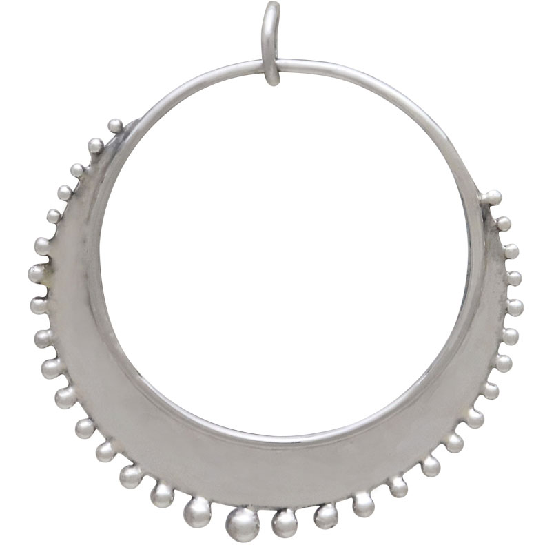 Sterling Silver Circle Charm with Granulation Drops 35x31mm