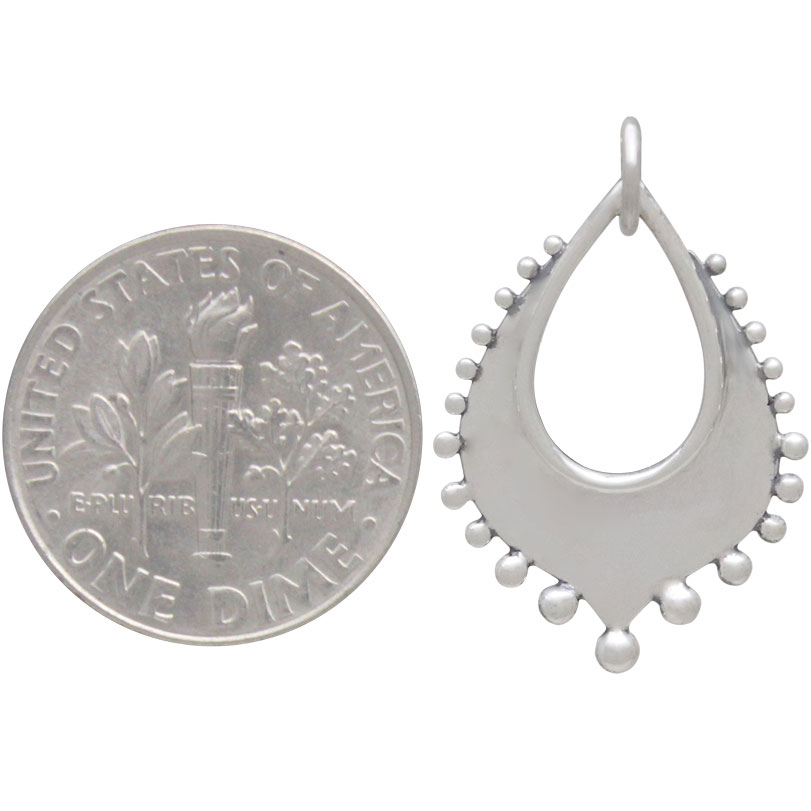 Silver Arabesque Charm with Granulation Drops 26x16mm