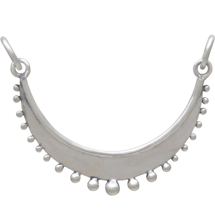 Silver Crescent Festoon with Granulation Drops 20x28mm