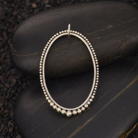 Silver Oval Charm with Graduated Granulation 35x22mm