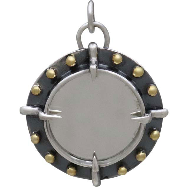 Sterling Silver Mirror Charm with Bronze Granulation 28x22mm