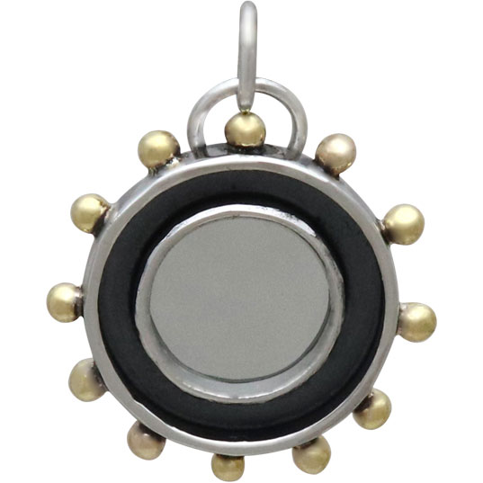 Sterling Silver Mirror Charm with Shadowbox Frame 24x19mm