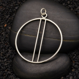 Sterling Silver Circle Pendant with Two Vertical Bars 44x35m